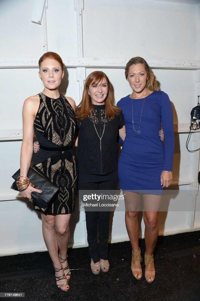 Actress Christiane Seidel, designer Nicole Miller, and <a gi-track='captionPersonalityLinkClicked' href=/galleries/search?phrase=Colbie+Caillat&family=editorial&specificpeople=4410812 ng-click='$event.stopPropagation()'>Colbie Caillat</a> pose backstage at the Nicole Miller Spring 2014 fashion show during Mercedes-Benz Fashion Week at The Studio at Lincoln Center on September 6, 2013 in New York City.