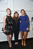 Actress Christiane Seidel designer Nicole Miller and Colbie Caillat pose backstage at the Nicole Miller Spring 2014 fashion show during MercedesBenz...