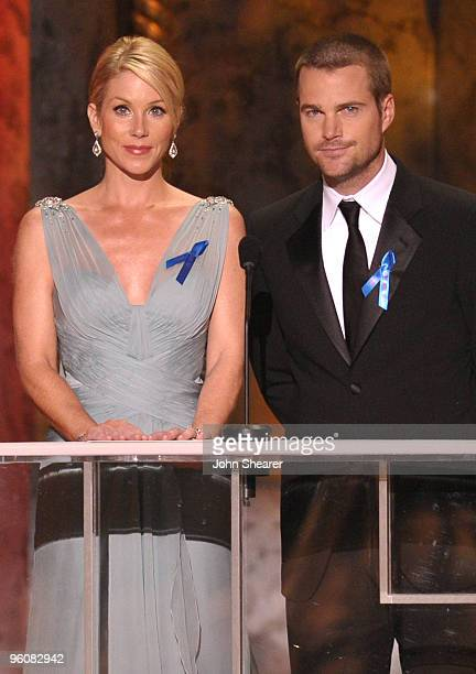 Actress Christina Applegate and Actor Chris O'Donnell onstage at the TNT/TBS broadcast of the 16th Annual Screen Actors Guild Awards held at the...