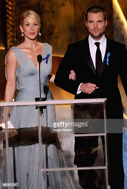 Actress Christina Applegate and actor Chris O'Donnell speak onstage at the 16th Annual Screen Actors Guild Awards held at the Shrine Auditorium on...