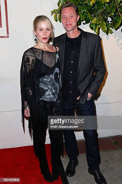 Actress Christina Applegate and bassist Martyn LeNoble of Porno for Pyros attend the premiere of 'Kumpania Flamenco Los Angeles' at El Cid on January...