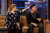 Actress Christina Applegate and reality TV personality Paul 'Pauly D' DelVecchio appear on the Tonight Show With Jay Leno at NBC Studios on September...