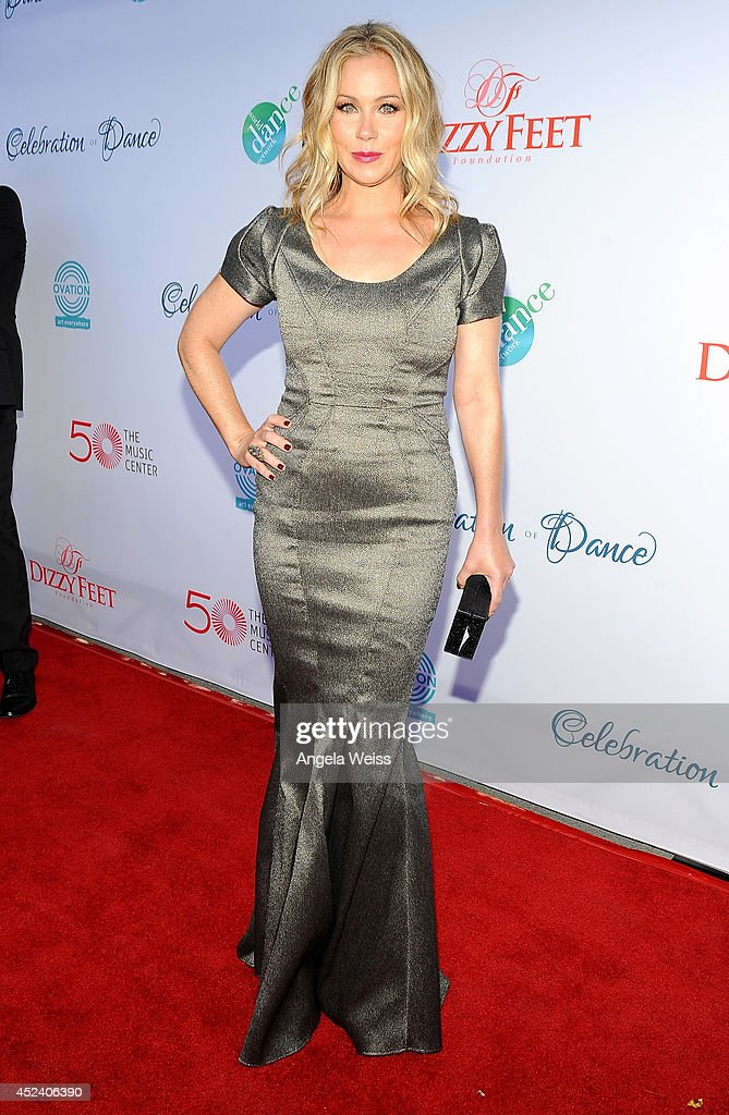 Actress <a gi-track='captionPersonalityLinkClicked' href=/galleries/search?phrase=Christina+Applegate&family=editorial&specificpeople=171273 ng-click='$event.stopPropagation()'>Christina Applegate</a> attends Dizzy Feet Foundation's Celebration Of Dance Gala at The Music Center on July 19, 2014 in Los Angeles, California.