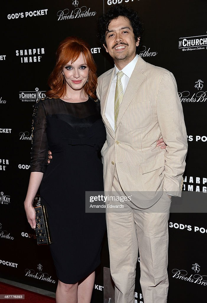 Actress <a gi-track='captionPersonalityLinkClicked' href=/galleries/search?phrase=Christina+Hendricks&family=editorial&specificpeople=2239736 ng-click='$event.stopPropagation()'>Christina Hendricks</a> (L) and her husband, actor <a gi-track='captionPersonalityLinkClicked' href=/galleries/search?phrase=Geoffrey+Arend&family=editorial&specificpeople=3164071 ng-click='$event.stopPropagation()'>Geoffrey Arend</a> arrive at the Film Independent at LACMA screening and Q&A of 'God's Pocket' at the Bing Theatre at LACMA on May 1, 2014 in Los Angeles, California.