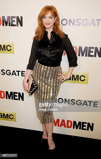 Actress Christina Hendricks arrives at AMC's 'Mad Men' Season 7 premiere at ArcLight Cinemas on April 2 2014 in Hollywood California