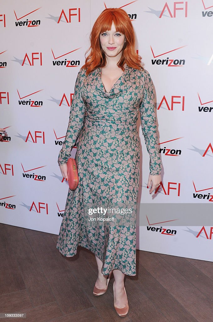 Actress <a gi-track='captionPersonalityLinkClicked' href=/galleries/search?phrase=Christina+Hendricks&family=editorial&specificpeople=2239736 ng-click='$event.stopPropagation()'>Christina Hendricks</a> arrives at the 2012 AFI Awards Luncheon on January 11, 2013 in Beverly Hills, California.