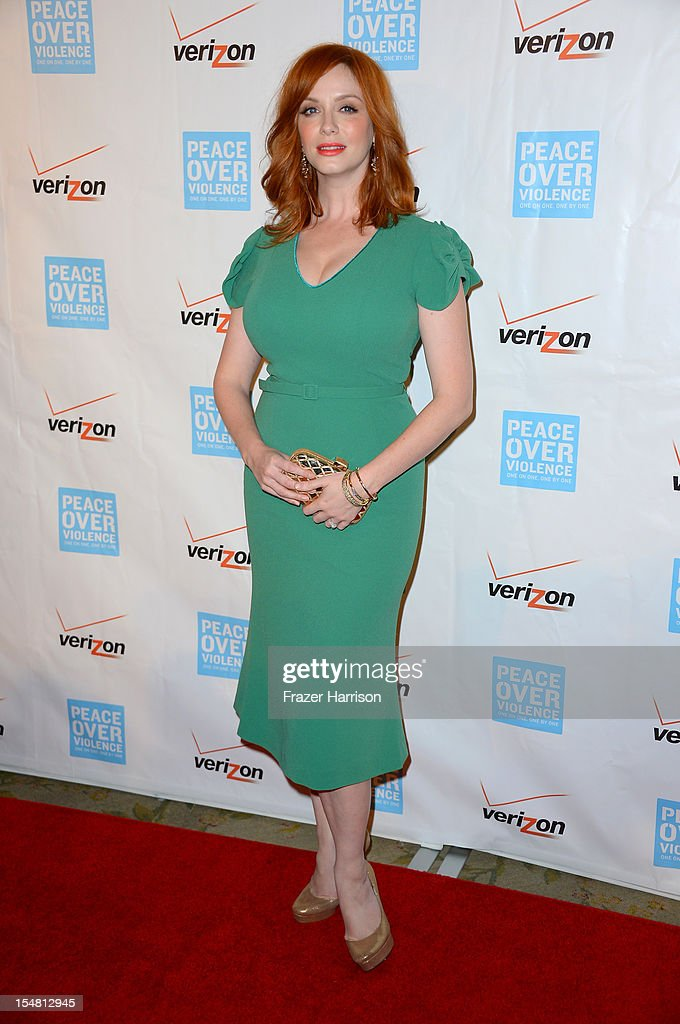 Actress <a gi-track='captionPersonalityLinkClicked' href=/galleries/search?phrase=Christina+Hendricks&family=editorial&specificpeople=2239736 ng-click='$event.stopPropagation()'>Christina Hendricks</a> arrives at the 41st Annual Peace Over Violence Humanitarian Awards held at Beverly Hills Hotel on October 26, 2012 in Beverly Hills, California.