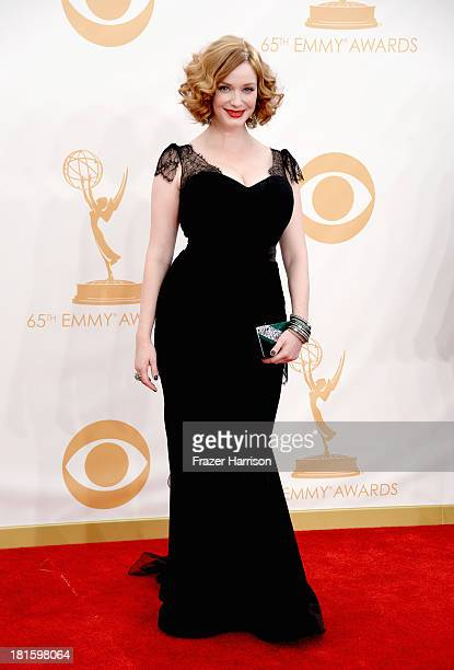 Actress Christina Hendricks arrives at the 65th Annual Primetime Emmy Awards held at Nokia Theatre LA Live on September 22 2013 in Los Angeles...