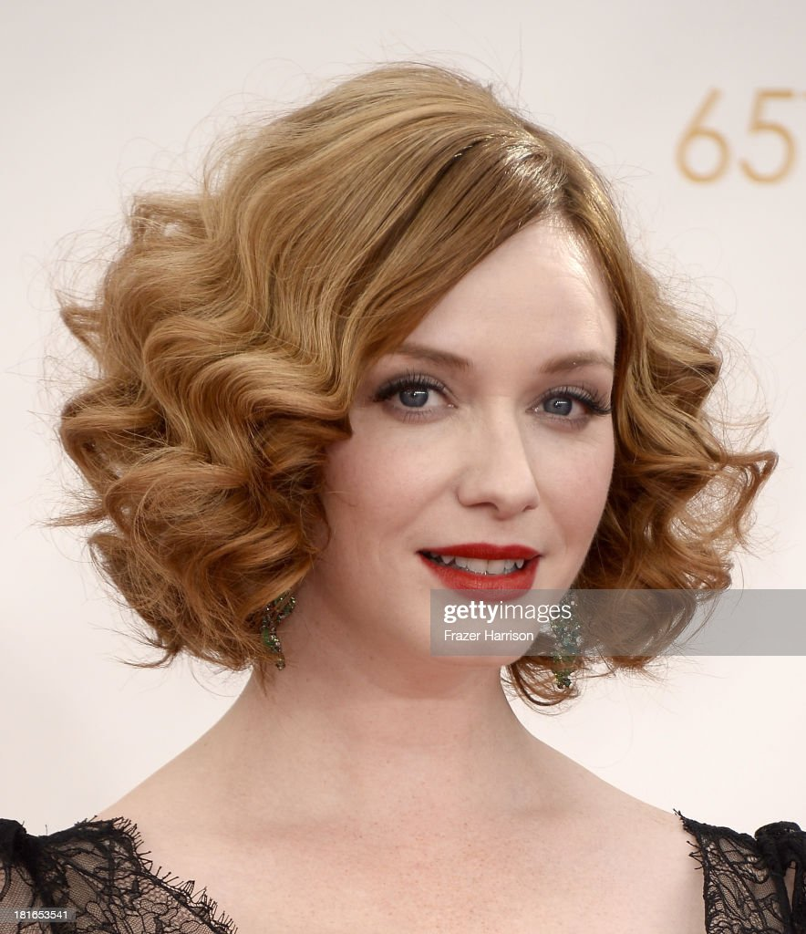 Actress <a gi-track='captionPersonalityLinkClicked' href=/galleries/search?phrase=Christina+Hendricks&family=editorial&specificpeople=2239736 ng-click='$event.stopPropagation()'>Christina Hendricks</a> arrives at the 65th Annual Primetime Emmy Awards held at Nokia Theatre L.A. Live on September 22, 2013 in Los Angeles, California.