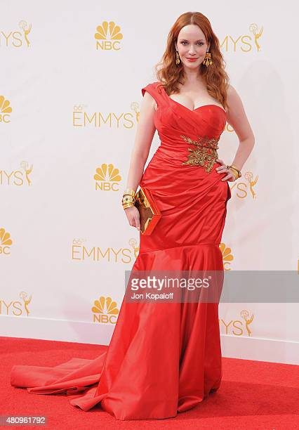 Actress Christina Hendricks arrives at the 66th Annual Primetime Emmy Awards at Nokia Theatre LA Live on August 25 2014 in Los Angeles California
