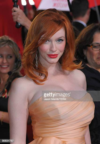Actress Christina Hendricks arrives at the 67th Annual Golden Globe Awards held at The Beverly Hilton Hotel on January 17 2010 in Beverly Hills...
