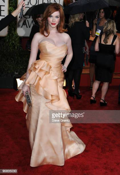 Actress Christina Hendricks arrives at the 67th Annual Golden Globe Awards at The Beverly Hilton Hotel on January 17 2010 in Beverly Hills California