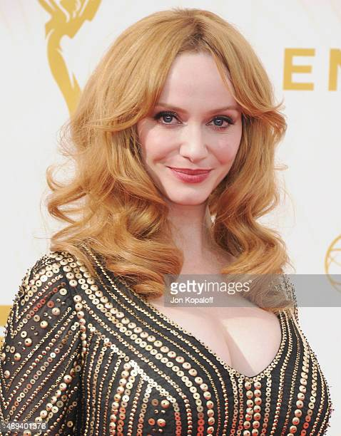 Actress Christina Hendricks arrives at the 67th Annual Primetime Emmy Awards at Microsoft Theater on September 20 2015 in Los Angeles California