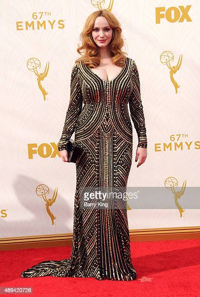Actress Christina Hendricks arrives at the 67th Annual Primetime Emmy Awards at the Microsoft Theater on September 20 2015 in Los Angeles California