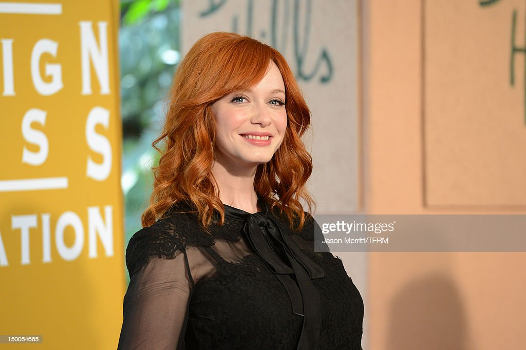 Actress <a gi-track='captionPersonalityLinkClicked' href=/galleries/search?phrase=Christina+Hendricks&family=editorial&specificpeople=2239736 ng-click='$event.stopPropagation()'>Christina Hendricks</a> arrives at the Hollywood Foreign Press Association's 2012 Installation Luncheon held at the Beverly Hills Hotel on August 9, 2012 in Beverly Hills, California.
