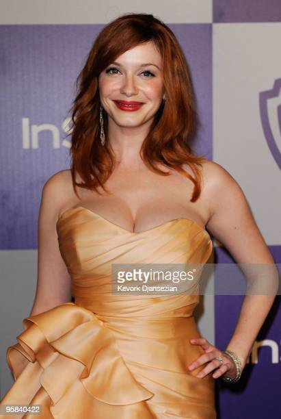 Actress Christina Hendricks arrives at the InStyle and Warner Bros 67th Annual Golden Globes after party held at the Oasis Courtyard at The Beverly...