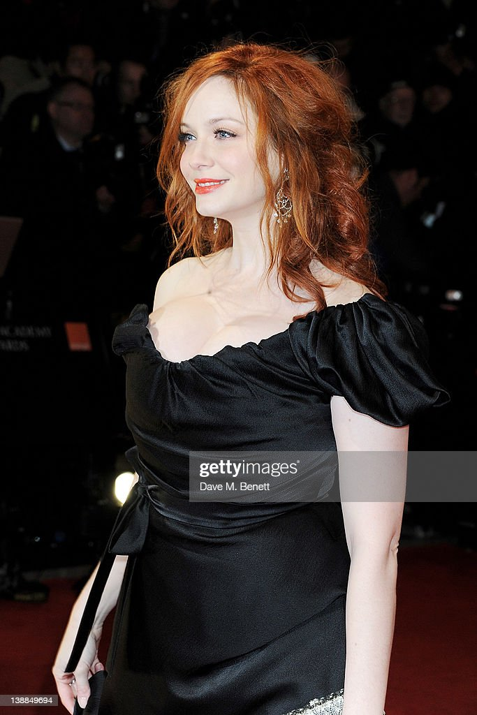 Actress Christina Hendricks arrives at the Orange British Academy Film Awards 2012 at The Royal Opera House on February 12, 2012 in London, England.