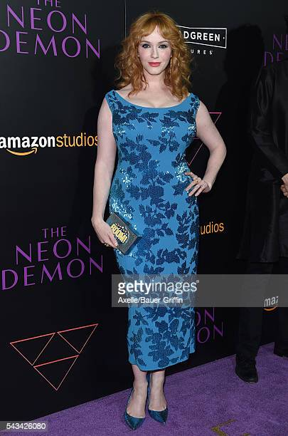 Actress Christina Hendricks arrives at the premiere of Amazon's 'The Neon Demon' at ArcLight Cinemas Cinerama Dome on June 14 2016 in Hollywood...