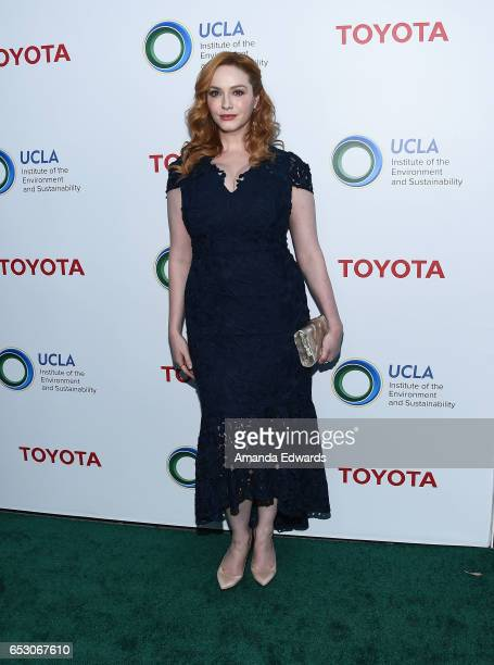 Actress Christina Hendricks arrives at the UCLA Institute of the Environment and Sustainability Innovators for a Healthy Planet celebration on March...