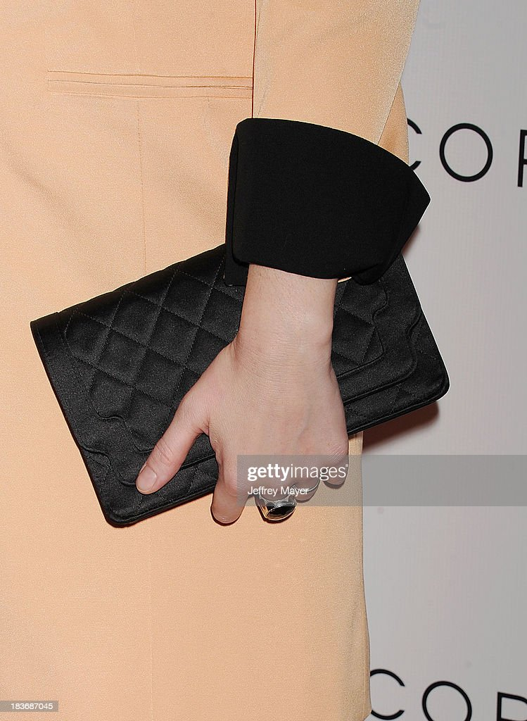 Actress Christina Hendricks (handbag, ring detail) at the Tacori's Annual Club Tacori 2013 Event at Greystone Manor Supperclub on October 8, 2013 in West Hollywood,