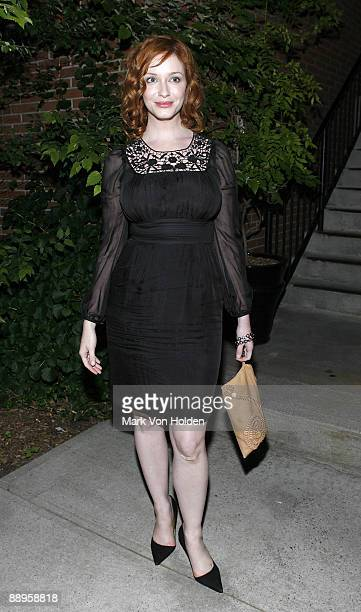 Actress Christina Hendricks attends an after party following a screening of '500 Days Of Summer' hosted by The Cinema Society with Brooks Brothers...