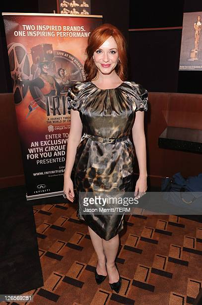 Actress Christina Hendricks attends IRIS A Journey Through the World of Cinema by Cirque du Soleil premiere Sunday September 25 2011 exclusively at...