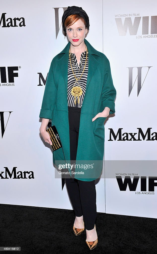 Actress Christina Hendricks attends MaxMara And W Magazine Cocktail Party To Honor The Women In Film MaxMara Face Of The Future, Rose Byrne at Chateau Marmont on June 10, 2014 in Los Angeles, California.