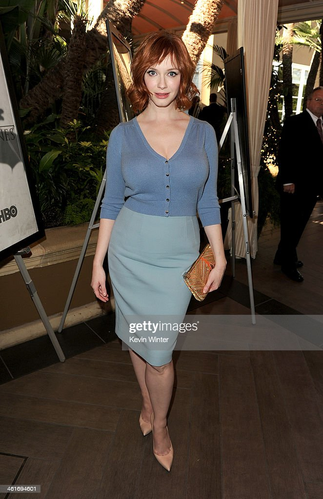 Actress <a gi-track='captionPersonalityLinkClicked' href=/galleries/search?phrase=Christina+Hendricks&family=editorial&specificpeople=2239736 ng-click='$event.stopPropagation()'>Christina Hendricks</a> attends the 14th annual AFI Awards Luncheon at the Four Seasons Hotel Beverly Hills on January 10, 2014 in Beverly Hills, California.