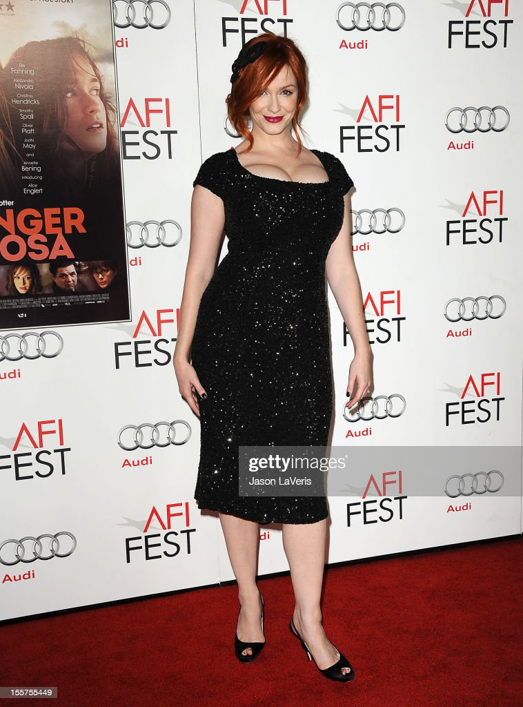 Actress <a gi-track='captionPersonalityLinkClicked' href=/galleries/search?phrase=Christina+Hendricks&family=editorial&specificpeople=2239736 ng-click='$event.stopPropagation()'>Christina Hendricks</a> attends the 2012 AFI Fest premiere of 'Ginger & Rosa' at Grauman's Chinese Theatre on November 7, 2012 in Hollywood, California.