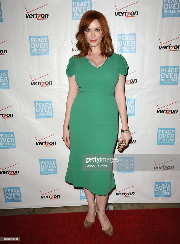 Actress <a gi-track='captionPersonalityLinkClicked' href=/galleries/search?phrase=Christina+Hendricks&family=editorial&specificpeople=2239736 ng-click='$event.stopPropagation()'>Christina Hendricks</a> attends the 41st annual Peace Over Violence Humanitarian Awards at Beverly Hills Hotel on October 26, 2012 in Beverly Hills, California.