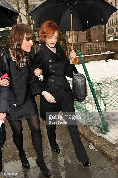 Actress Christina Hendricks attends the Badgley Mischka Fall 2010 Fashion Show during MercedesBenz Fashion Week at The Tent at Bryant Park on...