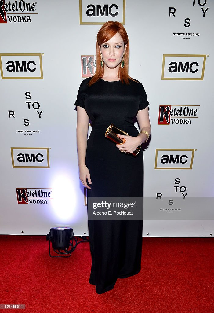 Actress <a gi-track='captionPersonalityLinkClicked' href=/galleries/search?phrase=Christina+Hendricks&family=editorial&specificpeople=2239736 ng-click='$event.stopPropagation()'>Christina Hendricks</a> attends the 'Ginger & Rosa' post premiere reception during 2012 Toronto International Film Festival held at the AMC Storys on September 7, 2012 in Toronto, Canada.