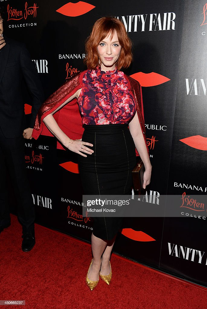 Actress Christina Hendricks attends the launch celebration of the Banana Republic L'Wren Scott Collection hosted by Banana Republic, L'Wren Scott and Krista Smith at Chateau Marmont on November 19, 2013 in Los Angeles, California.