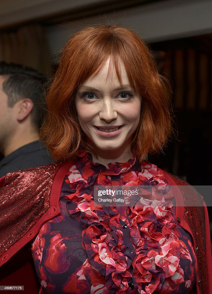 Actress <a gi-track='captionPersonalityLinkClicked' href=/galleries/search?phrase=Christina+Hendricks&family=editorial&specificpeople=2239736 ng-click='$event.stopPropagation()'>Christina Hendricks</a> attends the launch celebration of the Banana Republic L'Wren Scott Collection hosted by Banana Republic, L'Wren Scott and Krista Smith at Chateau Marmont on November 19, 2013 in Los Angeles, California.