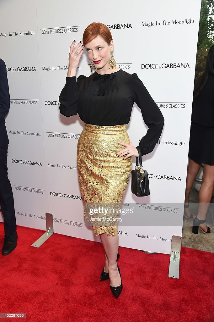 Actress <a gi-track='captionPersonalityLinkClicked' href=/galleries/search?phrase=Christina+Hendricks&family=editorial&specificpeople=2239736 ng-click='$event.stopPropagation()'>Christina Hendricks</a> attends the 'Magic In The Moonlight' premiere at the Paris Theater on July 17, 2014 in New York City.