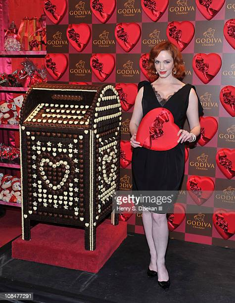 Actress Christina Hendricks attends the opening of the Godiva PopUp Boutique at 650 Fifth Avenue on January 28 2011 in New York City
