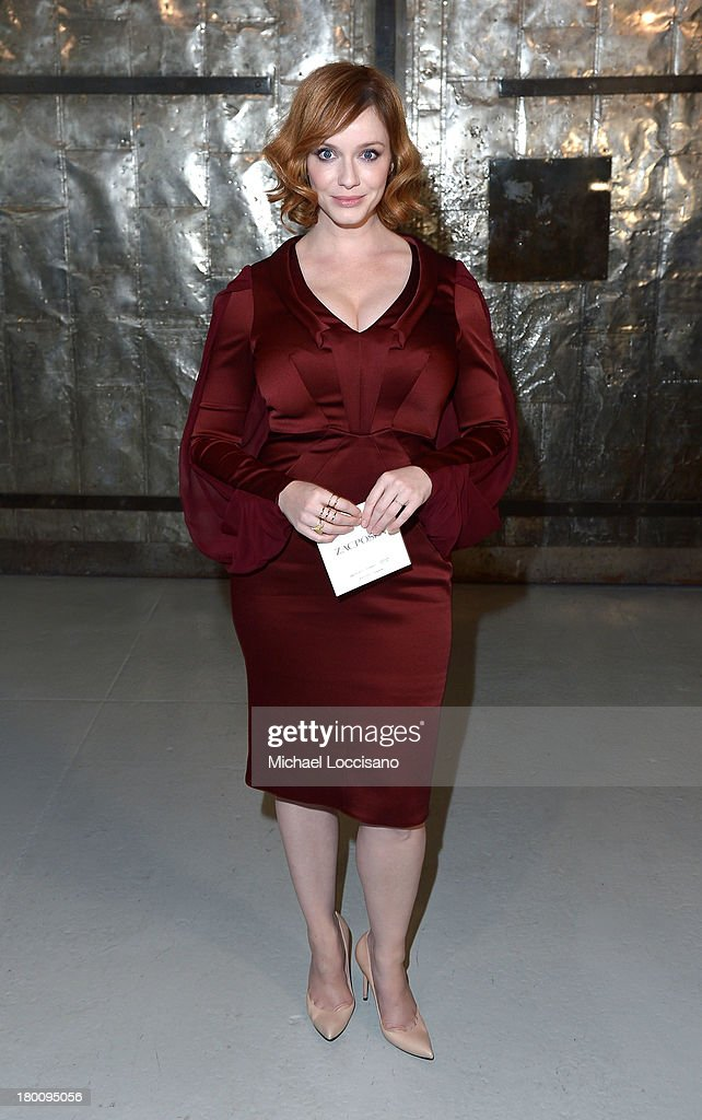 Actress <a gi-track='captionPersonalityLinkClicked' href=/galleries/search?phrase=Christina+Hendricks&family=editorial&specificpeople=2239736 ng-click='$event.stopPropagation()'>Christina Hendricks</a> attends the Zac Posen fashion show during Mercedes-Benz Fashion Week Spring 2014 at Center 548 on September 8, 2013 in New York City.