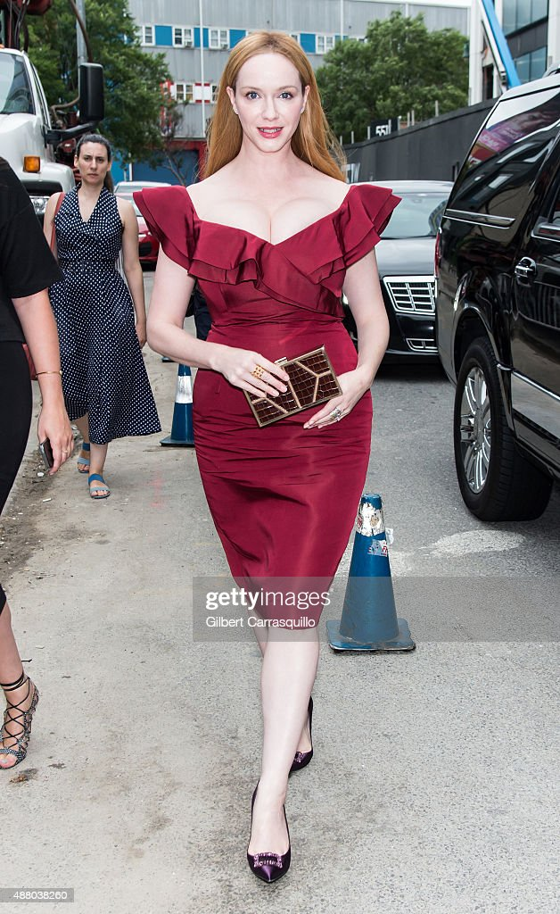 Actress Christina Hendricks is seen arriving at Christian Siriano fashion show during Spring 2016 New York Fashion Week on September 12, 2015 in New York City.