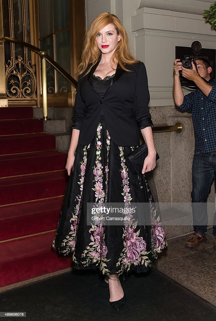 Actress Christina Hendricks is seen arriving at Marchesa fashion show during Spring 2016 New York Fashion Week at St. Regis Hotel on September 16, 2015 in New York City.