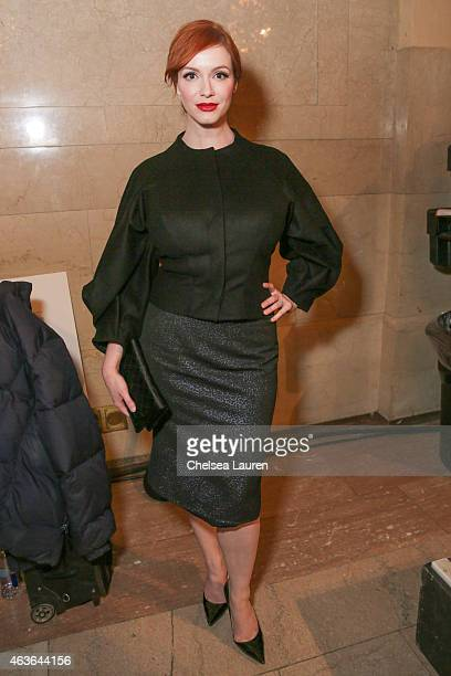 Actress Christina Hendricks poses backstage after the Zac Posen fashion show at Vanderbilt Hall at Grand Central Terminal on February 16 2015 in New...