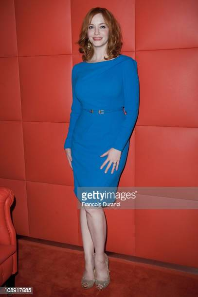 Actress Christina Hendricks poses during the Sundance Channel Mad Men Gala Event at Hotel Royal Monceau Raffle on February 8 2011 in Paris France