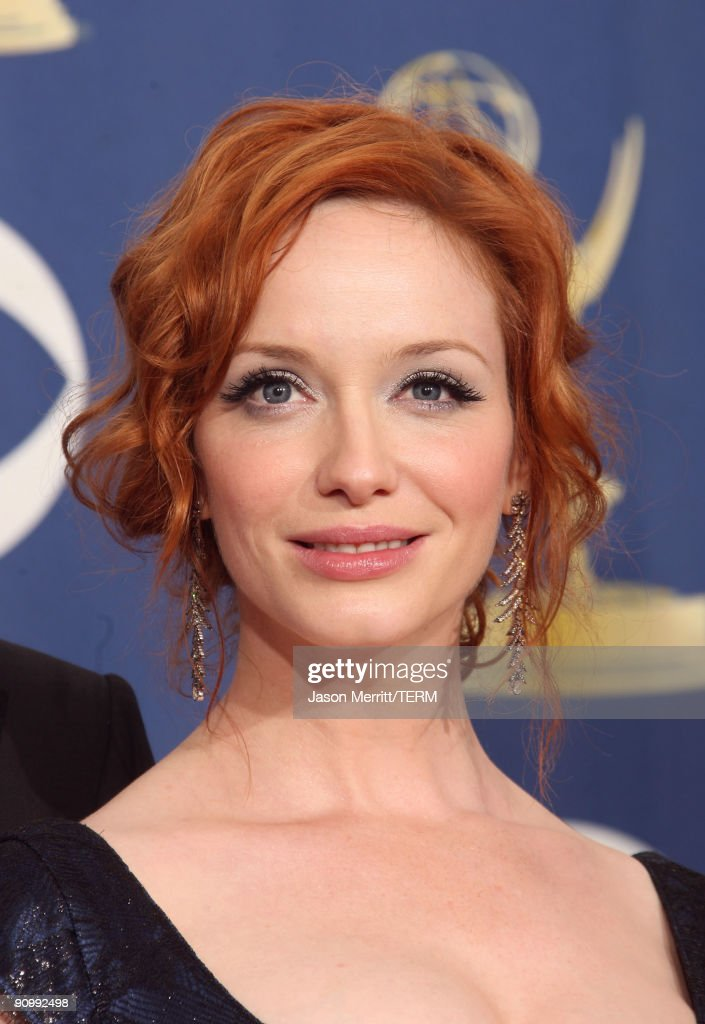 Actress <a gi-track='captionPersonalityLinkClicked' href=/galleries/search?phrase=Christina+Hendricks&family=editorial&specificpeople=2239736 ng-click='$event.stopPropagation()'>Christina Hendricks</a> poses in the press room at the 61st Primetime Emmy Awards held at the Nokia Theatre on September 20, 2009 in Los Angeles, California.