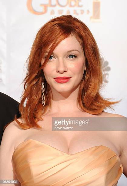 Actress Christina Hendricks poses in the press room at the 67th Annual Golden Globe Awards held at The Beverly Hilton Hotel on January 17 2010 in...