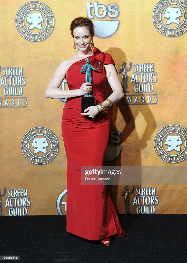 Actress <a gi-track='captionPersonalityLinkClicked' href=/galleries/search?phrase=Christina+Hendricks&family=editorial&specificpeople=2239736 ng-click='$event.stopPropagation()'>Christina Hendricks</a> poses with the Ensemble In A Drama Series award for 'Mad Men' in the press room at the 16th Annual Screen Actors Guild Awards held at the Shrine Auditorium on January 23, 2010 in Los Angeles, California.