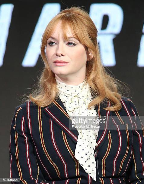 Actress Christina Hendricks speaks onstage during the Sundance TV's Hap and Leonard panel as part of the AMC Networks portion of This is Cable 2016...