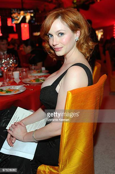 Actress Christina Hendricks wearing Chopard attends the 18th Annual Elton John AIDS Foundation Oscar Party at Pacific Design Center on March 7 2010...