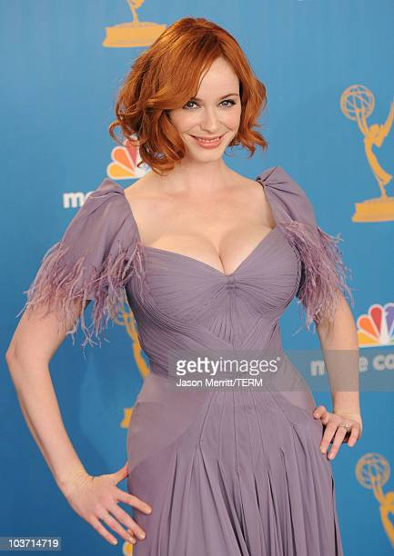 Actress Christina Hendricks winner of the Outstanding Drama Series Award for 'Mad Men' poses in the press room at the 62nd Annual Primetime Emmy...