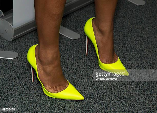 Actress Christina Milian shoe detail attends SAG Foundation's 'Conversations' series screening of 'Grandfathered' at SAG Foundation Actors Center on...