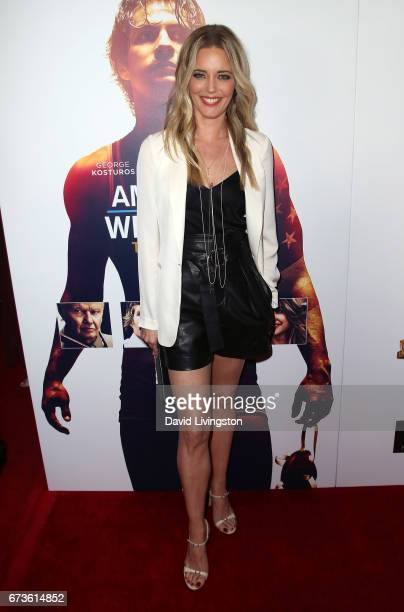 Actress Christina Moore attends the premiere of Warner Bros Home Entertainment's 'American Wrestler The Wizard' at Regal LA Live Stadium 14 on April...