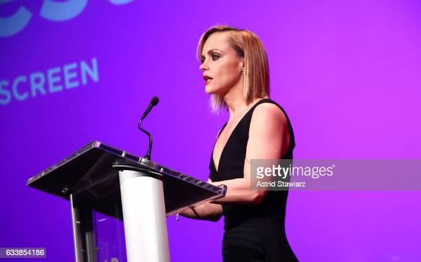 Actress Christina Ricci accepts her Vanguard Award on Day Three of aTVfest 2017 presented by SCAD at SCADshow on February 4 2017 in Atlanta Georgia